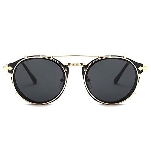 AAMOUSE Sonnenbrillen Vintage Damensonnenbrille rund Steampunk, Sonnenbrille er Spiegelbeschichtung Retro Sonnenbrille, Sonnenbrille