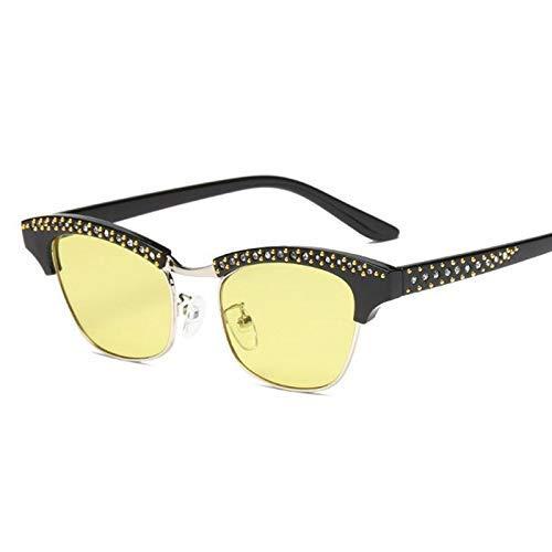 GFF 47206 Crystal Diamond Sonnenbrillen Frauen Cat Eye Vintage Half Frame Marke Brille Designer Fashion UV400