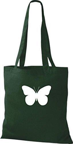 ShirtInStyle Stoffbeutel Schmetterling Butterfly Libelle Käfer Marienkäfer Kult gruen