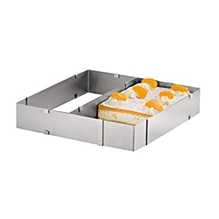 Axentia Square-Adjustable Rectangle Frame for Cake Stainless Steel, Silver, 37 x 44 x 5 cm