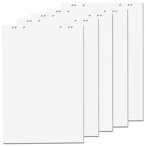 5x Flipchartblöcke, Weiss Blanco, je Block 20 Blatt 69x99 cm, 6 fach Lochung, perforiert, Papier für Flipchart