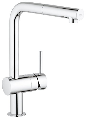 GROHE 32168000 Minta Kitchen Tap (360 degrees Swivel Range, Pull-Down Spray Head, Starlight and L-Spout)
