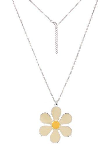 Leslii Damenkette Blumen-Kette Blüten Lange Halskette gelbe Modeschmuck-Kette Sommer-Schmuck Länge 85cm in Gelb Silber