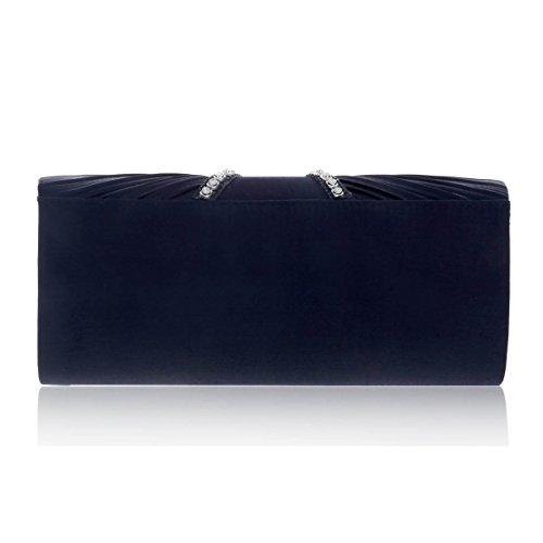 Damara® Damen Faltenwurf Clutch Abend Strass-Dekor Handtaschen Weiß