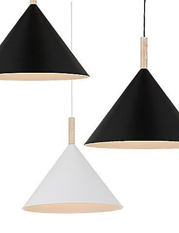 zJM Mini Artistic Cone Pendant Lamp/1Light/Mordern Simplicity/finish Black/White Aluminum & Wooden Droplight 220-240v-black