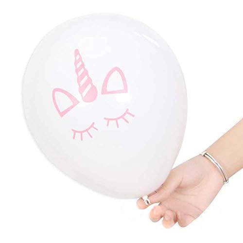 Wind Ziel Einhorn Latex Ballon Party Supplies Dekorationen Luftballons für Einhorn Thema Party Kinder Geburtstag Baby Dusche Hochzeit, 5Sets weiß (Ziel Party Supplies)