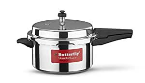 Butterfly Standard Plus Induction Base Aluminium Pressure Cooker, 5 Litre