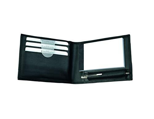 Alassio 43035 - Notizblock-Etui Gubbio aus Nappaleder, Mäppchen in schwarz, Etui ca. 11 x 8 x 2 cm, Ledermäppchen mit A8 Notizblock, 3 Einschubfächer und Minikugelschreiber Metall (Kobe Billig 8)