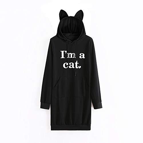 Mujer Sudadera Tumblr Larga Capucha Gato Oreja 2'M