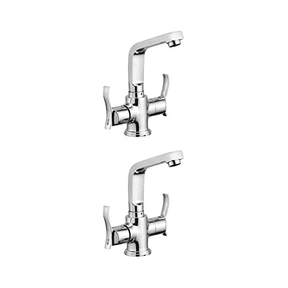 Mysis Angel Brass Center Hole Basin Mixer With Connection Pipe With Hot & Cold Water Feature (Disc Fitting   Quarter Turn   Form Flow) (Pack of 2)