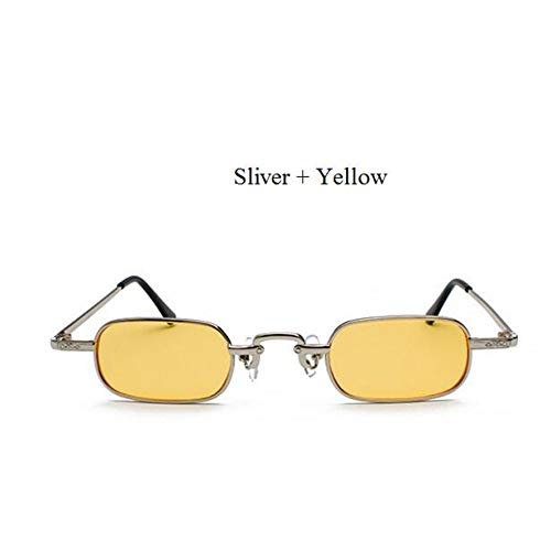 Kjwsbb Punk Glasses Clear Square Sunglasses Women Retro Sun Glasses for Men Red Pink Yellow  Small Metal Frame