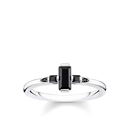 THOMAS SABO Damen Ring Stein Baguette-Schliff schwarz 925 Sterlingsilber, Geschwärzt TR2266-643-11