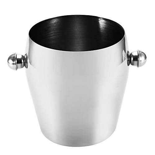 Ice Bucket With Stainless Steel Ice Tongs,Double Layers Ice Container Portable Bar Red Wine Barrel Kitchen Bar Tools,1L Red Stainless Steel Tong