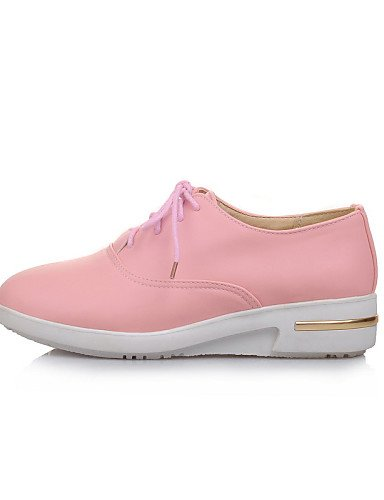 ZQ Scarpe Donna - Stringate - Ufficio e lavoro / Formale - Punta arrotondata - Zeppa - Finta pelle - Nero / Blu / Rosa / Bianco , pink-us8 / eu39 / uk6 / cn39 , pink-us8 / eu39 / uk6 / cn39 pink-us7.5 / eu38 / uk5.5 / cn38
