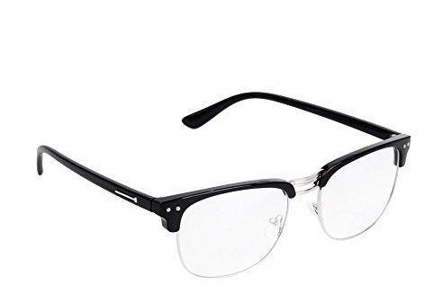 Unisex Retro Brille Brillen Schwarz, halber Rahmen