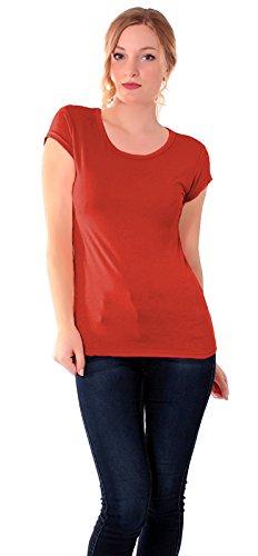 Easy Young Fashion Damen Basic T-Shirt Rundhals Slim Fit Einfarbig Terracotta