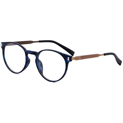 VEVESMUNDO Brillen ohne sehstärke Damen Herren Brillengestelle Brillenfassung Fakebrillen Deko Brille Klassische Retro Rund Hornbrille Pantobrille mit Brillenetui (TYP2 - Matt Blau & Braun)