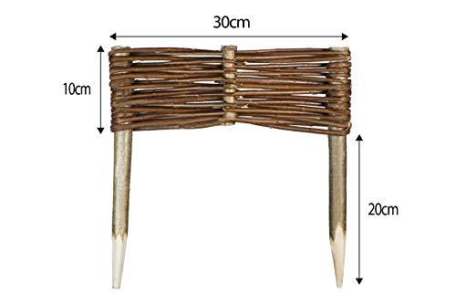 Mcsammler Weide Beeteinfassung in 16 Größen Weidenzaun Rasenkante Beetbegrenzung Steckzaun imprägniert mit Buchepflöcken für leichtes Einsetzen Länge: 30 cm Höhe: 10 cm