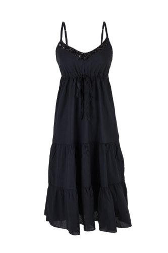 AO Spring Volant Robe d'été à fines bretelles Noir
