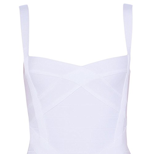 HLBandage Damen Reizvoller Schlinge Bügel Midi Verband Kleid Weiß