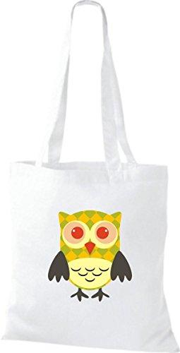 Borsa In Stoffa Di Juta A Tinta Unita Borsa A Tracolla Colorata Gufo Con Puntini Karos Stripe Owl Retro Diverso Colore, Bianco