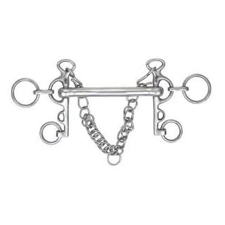 """Mullen Mouth (straight bar) Rugby Pelham Bit with curb chain 5"""" 7"""