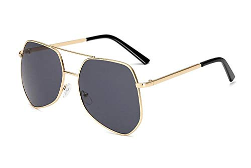 Big Box Sonnenbrillen Männer und Frauen unregelmäßigen benutzerdefinierten Polygon Metall polarisierten Herren Sonnenbrillen Mode Metallrahmen Laufwerk Gläser@Goldrahmen/schwarz graues Stück