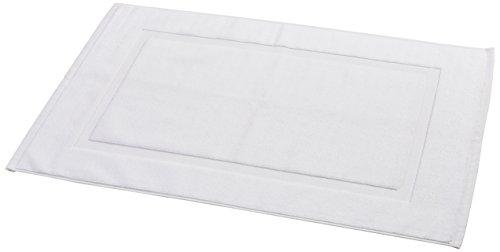 AmazonBasics - Alfombra de baño con franja, color blanco