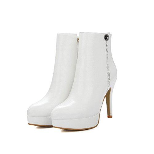 AgooLar Damen Spitz Zehe Hoher Absatz Weiches Material Eingelegt Stiefel Weiß