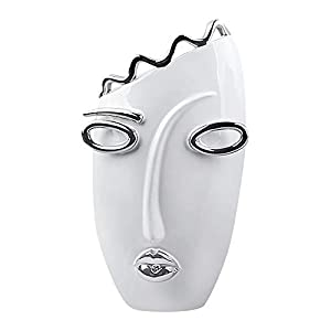 GILDE Vase Oval - aus Keramik in weiß silber H 37 cm B 21 cm