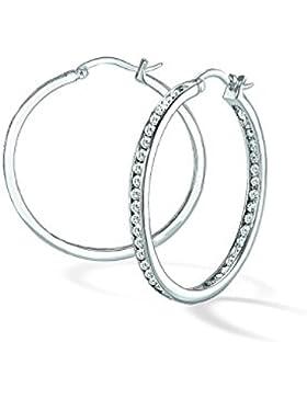 s.Oliver Damen-Creolen 925 Silber rhodiniert Zirkonia weiß - 497725