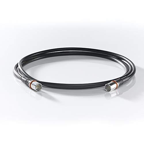 WISI Modem-Anschlusskabel DS 50 U 0300 mit zwei F-Quick-Steckern – 3-fach geschirmt, Klasse A++, >105dB – Für DVB-T, DVB-T2, DVB-C, DVB-S & DVB-S2 – Ø 5mm, 3m, schwarz