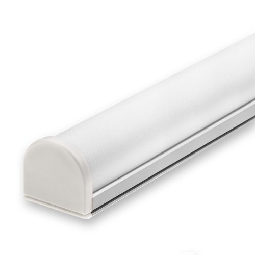 Perfil de aluminio STUV para tiras LED con cubierta translúcida y tapas finales, 1 metro