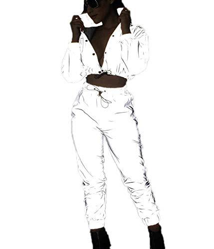 Reflektierende Jogger-Strickjacke der Frauen Coat + Pants Suit, Fashion Rock Reflective Clothes Suit - Rock Hose Drawstring Pants