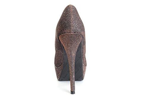 Rote High Heels mit 14 cm Absatz Stoff Kupfer