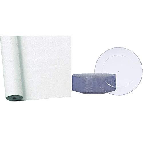 Susy Card 11170453 Tischtuchrolle, Damast, geprägt, Papier, bedruckt, 25 x 1 m, weiß & AmazonBasics - Teller aus Kunststoff, Einwegteller, 50-er Pack, 26 cm