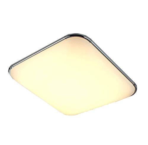 Natsen® Moderne LED Deckenlampe 15W Warmweiß Schlafzimmer Lampe Esszimmer Silber I503Y Chrom (300mm*300mm / 15W / 1200 Lumen)