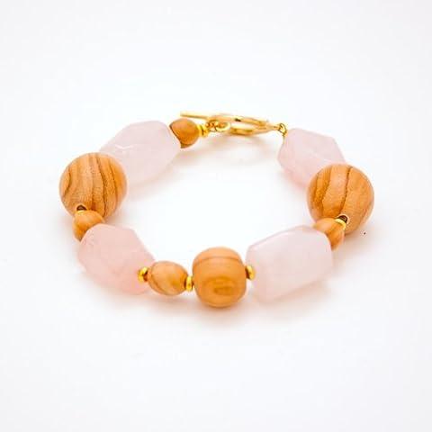 Enchanted Sunset Bracelet - Faceted Rose Quartz, and Olive Wood Beads, Handmade & Fair Trade