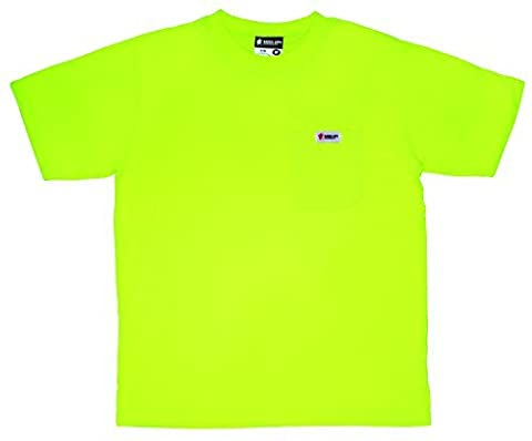 MCR Safety STSLX2 Polyester Jersey Material Non ANSI Short Sleeve T-Shirt with No Reflective Stripes and Breast Pocket, XX-Large, Lime by MCR Safety