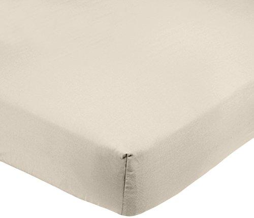 AmazonBasics FTD, Sábanas Ajustables, 160 x 200 x 30 cm, Beige