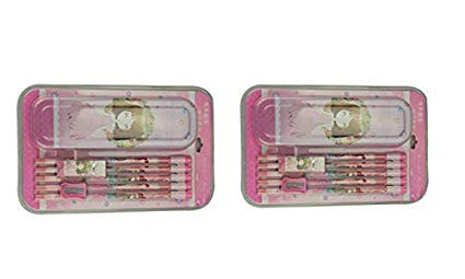ZEVORA (Pack of 2) Steel Pink Princess School Pencil Box with 5 Pencils, Sharpener, Rubber Set for Kids, Stationery Set & Toy