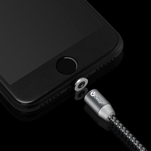 ALTech® Cavo di ricarica Micro USB per il collegamento a LED connettore magnetico rotondo libero di connessione 360 ??° per iPhone 7,7 Plus, 6S, 6 Plus, SE, 5S, 5, iPad, iPod (1M) Grigio