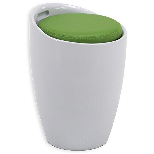 Sitzhocker Arbeitshocker Badhocker Badschemel Stauraumhocker DANIEL, mit Stauraum und Sitzkissen in weiß/grün