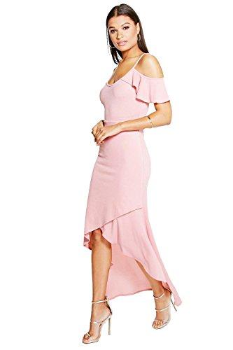 Peach Femmes Evie ouvert épaule volantée Détail Wrap Maxi Dress Pêche