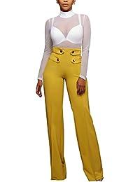Las Mujeres Elegantes Botones Cremalleras Pierna Ancha Cintura Alta Pantalones Pantalones Palazzo Full Length
