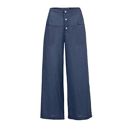 YWLINK Frau Palazzo Hose Damen Einfarbig Literarisch Hohe Taille Wide Leg Culottes Baumwolle Leinenhose Lose Hosen(M,Marine)