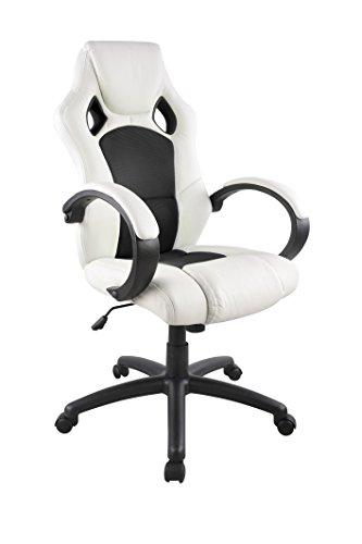Avanti Trendstore  Sedia ufficio girevole sportiva bianco/nero, ecopelle, regolabile, ca. 61x108118x67,5 cm