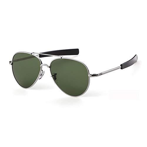 Sonnenbrille,Piloten Sonnenbrille Militärischen Tempel Kabel Spachtel Army Air Force Männer Uv 400 Sonnenbrille Silber Grün