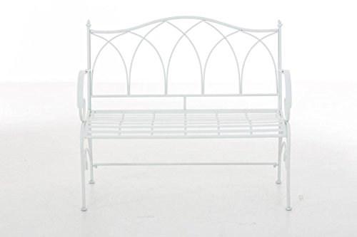 CLP Gartenbank ORKUN im Landhausstil, Eisen lackiert, 107 x 50 cm, 2er Sitzbank Weiß - 2