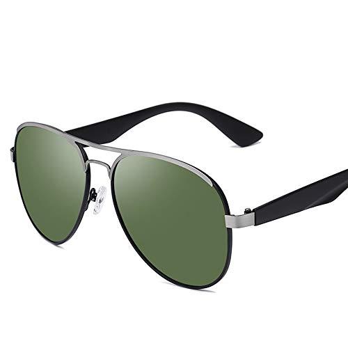 LLdy Sonnenbrille polarisiert HD Retro Frosch Spiegel gebürstetem Metall UV400 Männer und Frauen im Freien fahren (6 Farben), mattschwarz gebürstet Pistolenrahmen dunkelgrünen Film -